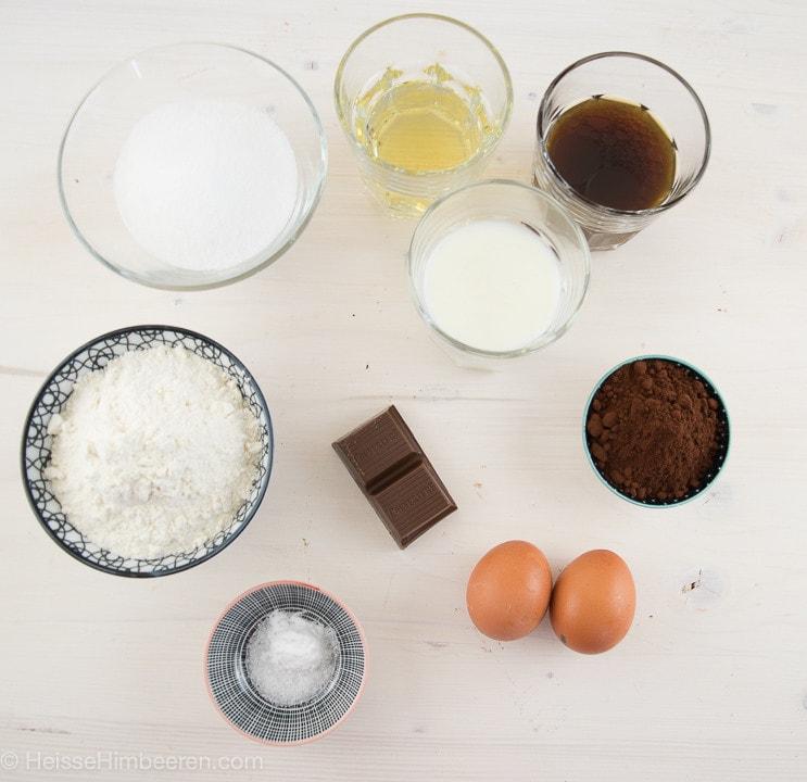 Die Zutaten für die Cupcakes