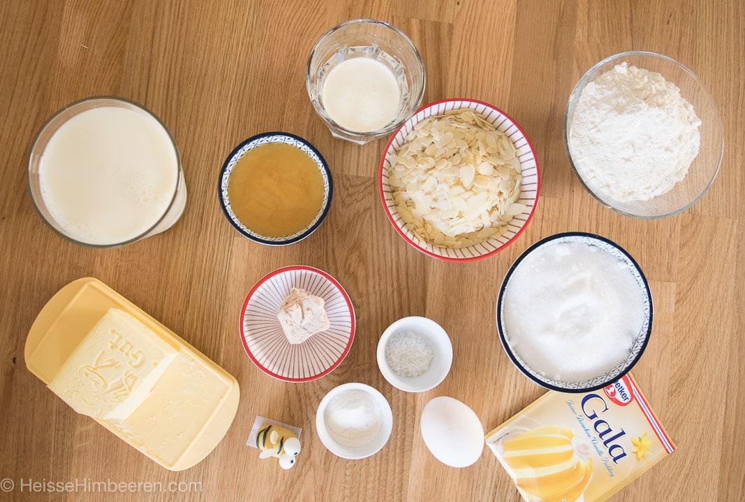 Die Zutaten für die Bienen Muffins
