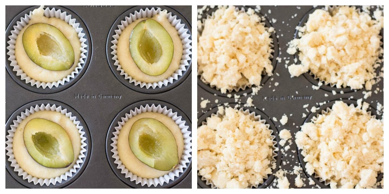 Die Herstellung der Zwetschgendatschi Muffins