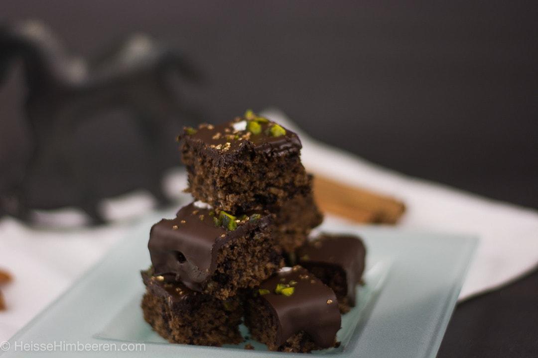 Viele kleine Schokoladenbrote sind aufeinander gestapelt