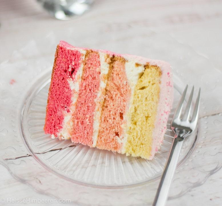 Ein Stück Flamingo Torte