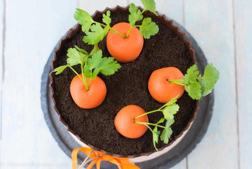 Vier Karotten stecken oben auf der Karottentorte in einem Schokoladenbeet