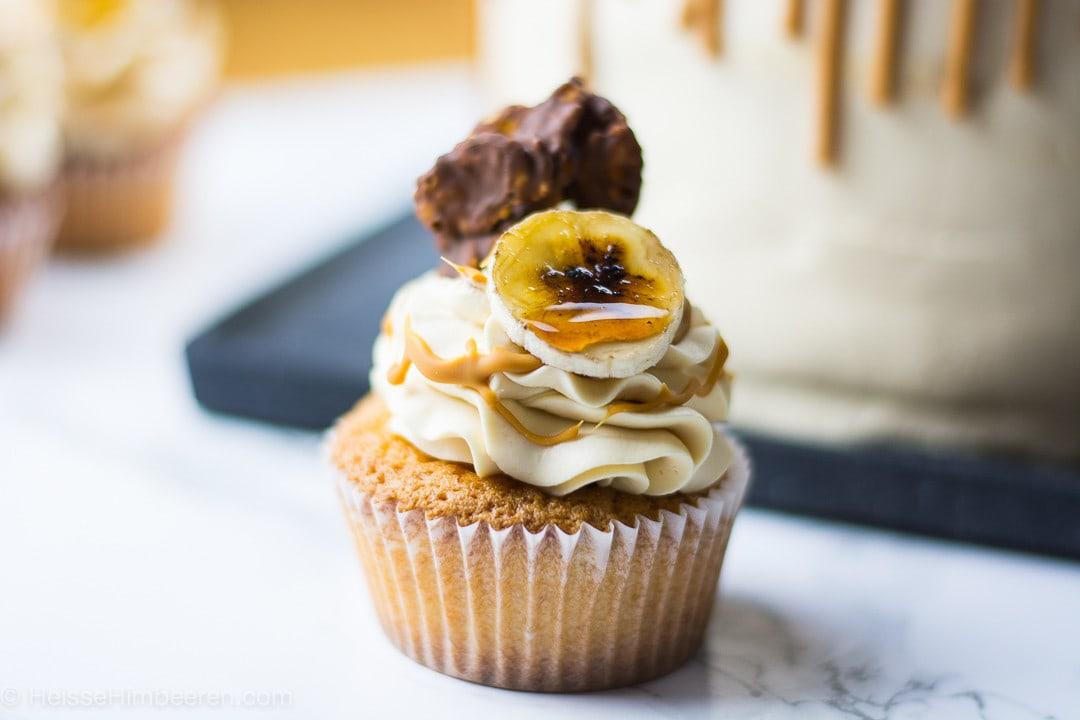Eine Bananen Cupcake mit einem Schokosplitter