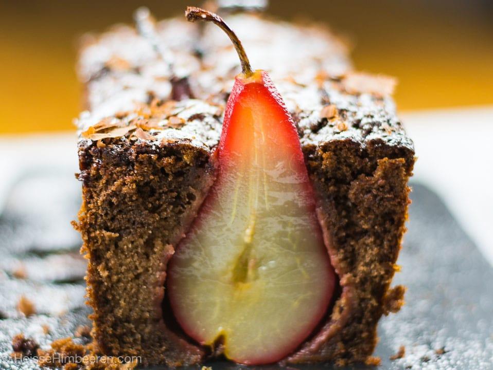 Ein Schoko Birnen Kuchen in Kastenform