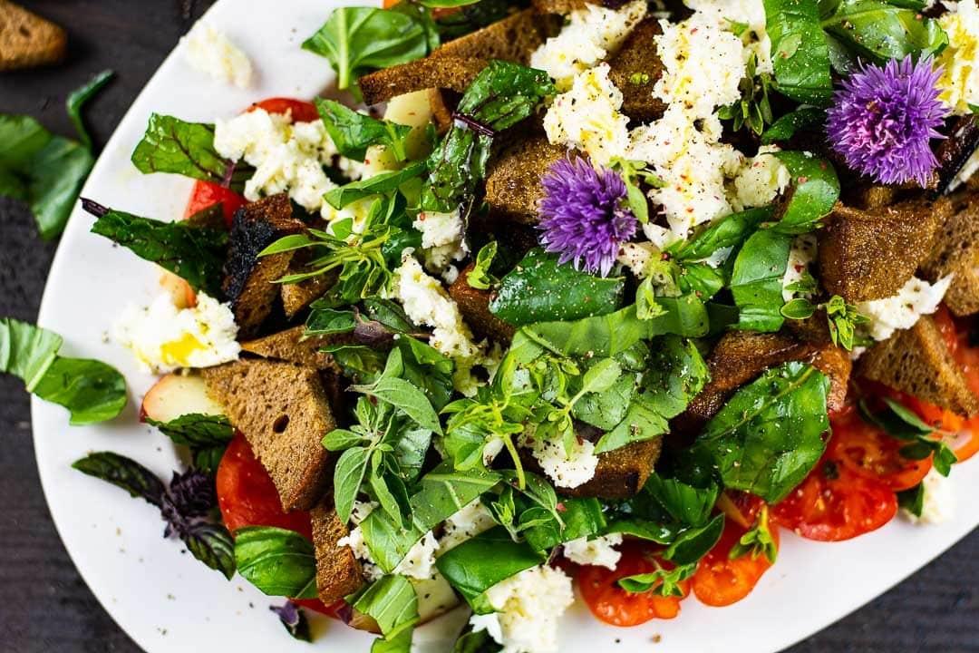 Der Toskanischer Brotsalat in der Nahaufnahme. Man erkennt Mozzarella, Tomaten, Brotstücke und Salat