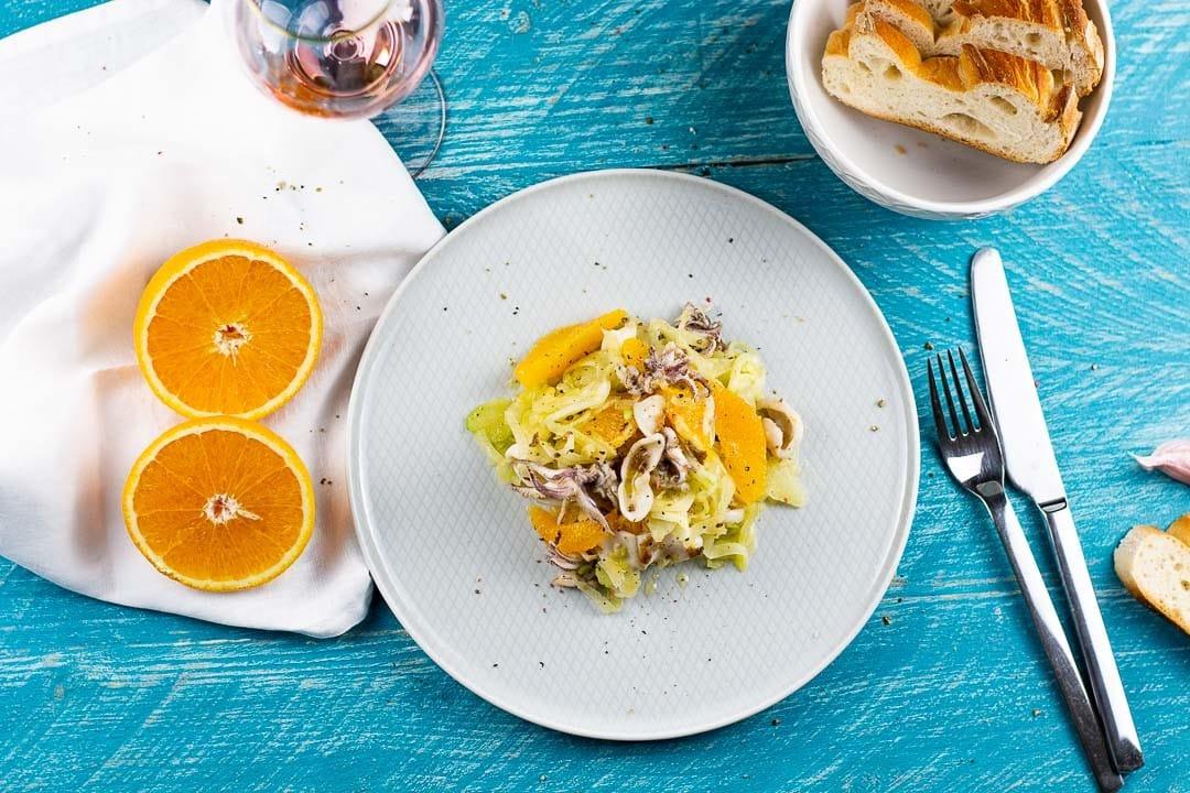 Ein Calamari Salat mit Fenchel