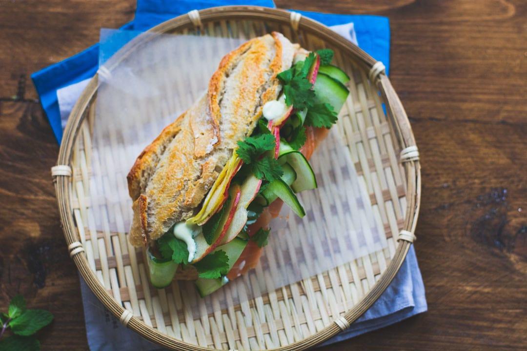 Das Lachs Sandwich von oben