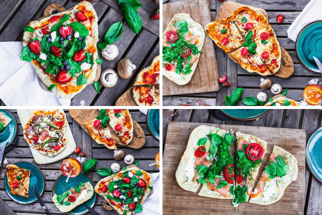 Vier verschiedene gegrillte Pizzen mit unterschiedlichen Belag