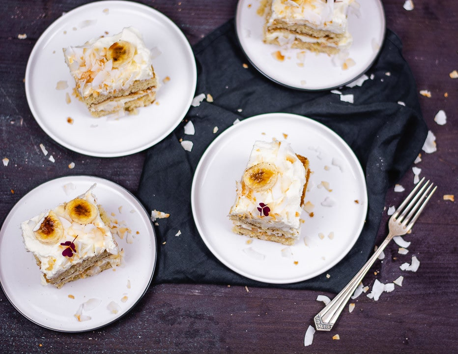 Ein paar Stücke Mascarpone Bananen Kuchen