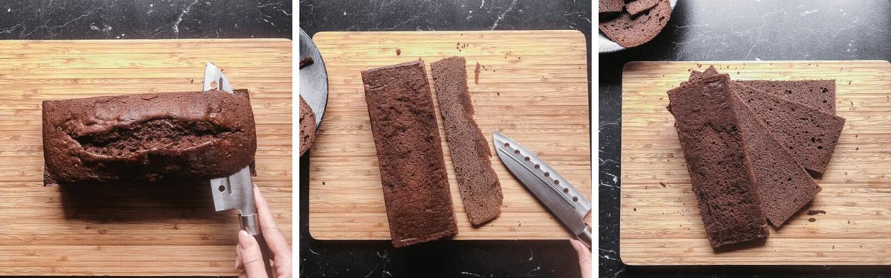 Der fertige Kuchen wird zugeschnitten