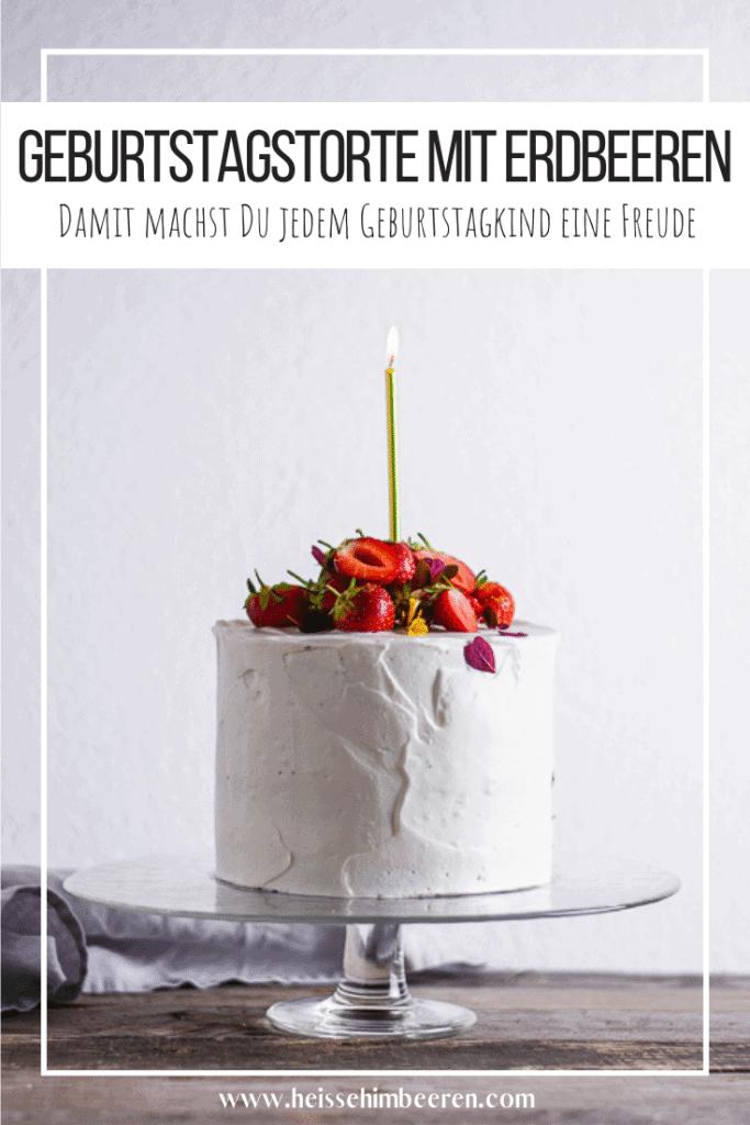 Geburtstagskuchen mit Erdbeeren als Pinterest Grafik