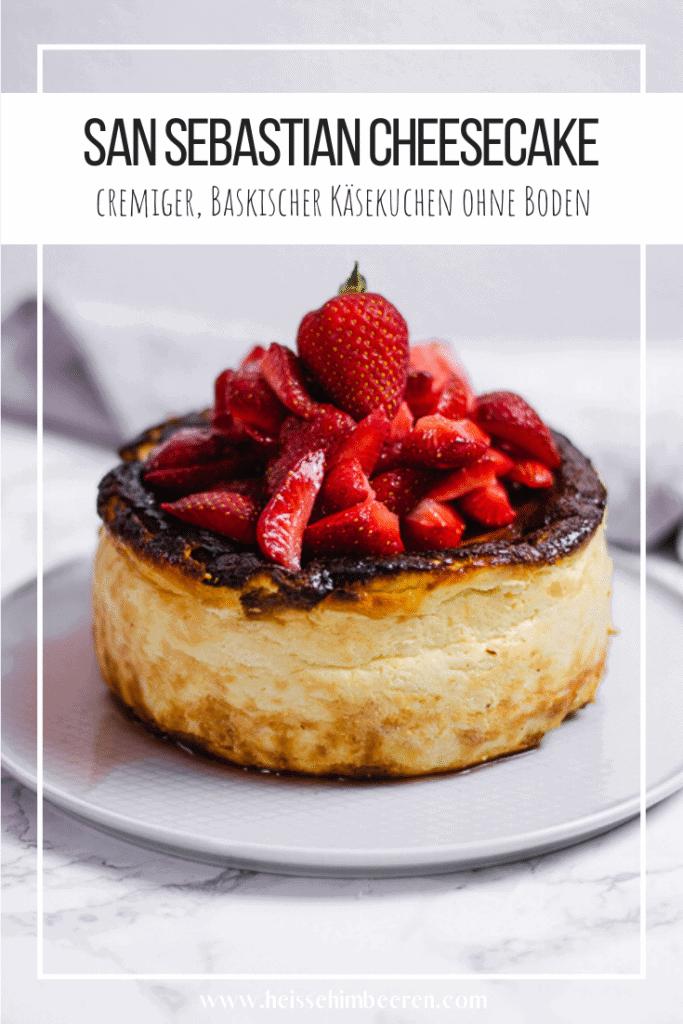 Eine Pinterest Grafik zum baskischem Käsekuchen