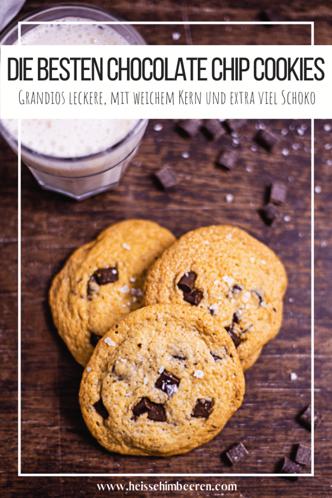 Eine Pinterest Grafik zu den Schokoladen Cookies mit weichem Kern