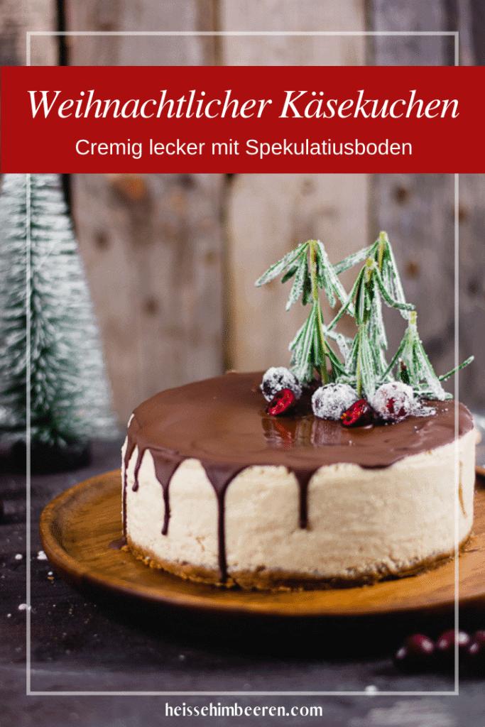 Für Pinterest optimierte Grafik des weihnachtlichen Käsekuchens.