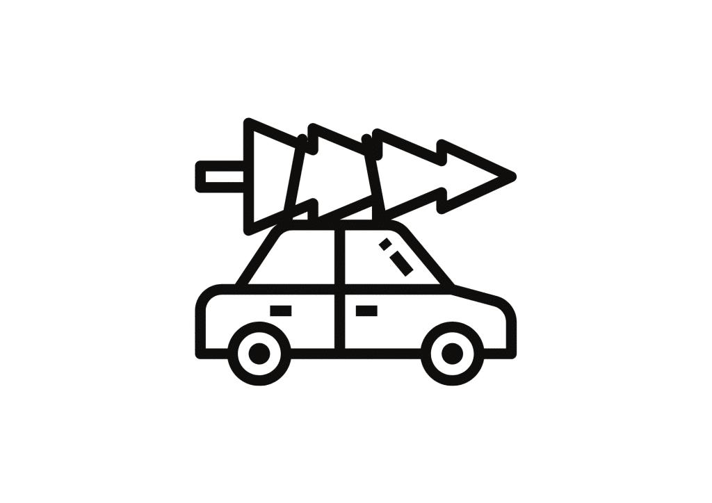 Eine Schablone des Autos mit Christbaum