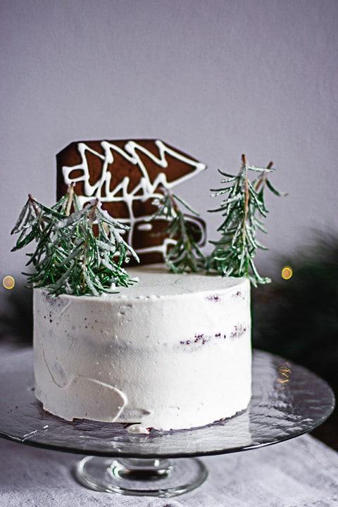 Eine Weihnachtstorte auf einem Teller
