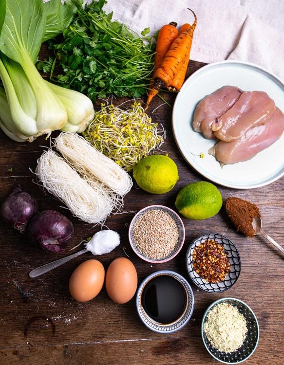 Die Zutaten für das Meal Prep Rezept Ramen To Go stehen auf einem alten Holztisch. Von oben nach unten und links nach rechts sind das Hühnerbrüste, Karotten, Koriander, Pak Choi, Sojasprossen, Reisnudeln, Misopaste, Limetten, Sesam, Pflanzenöl, Zwiebeln, Chiliflocken, Eier und Gemüsebrühe Pulver