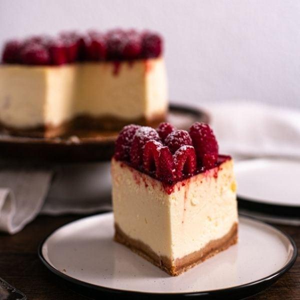 New York Cheesecake mit Himbeeren
