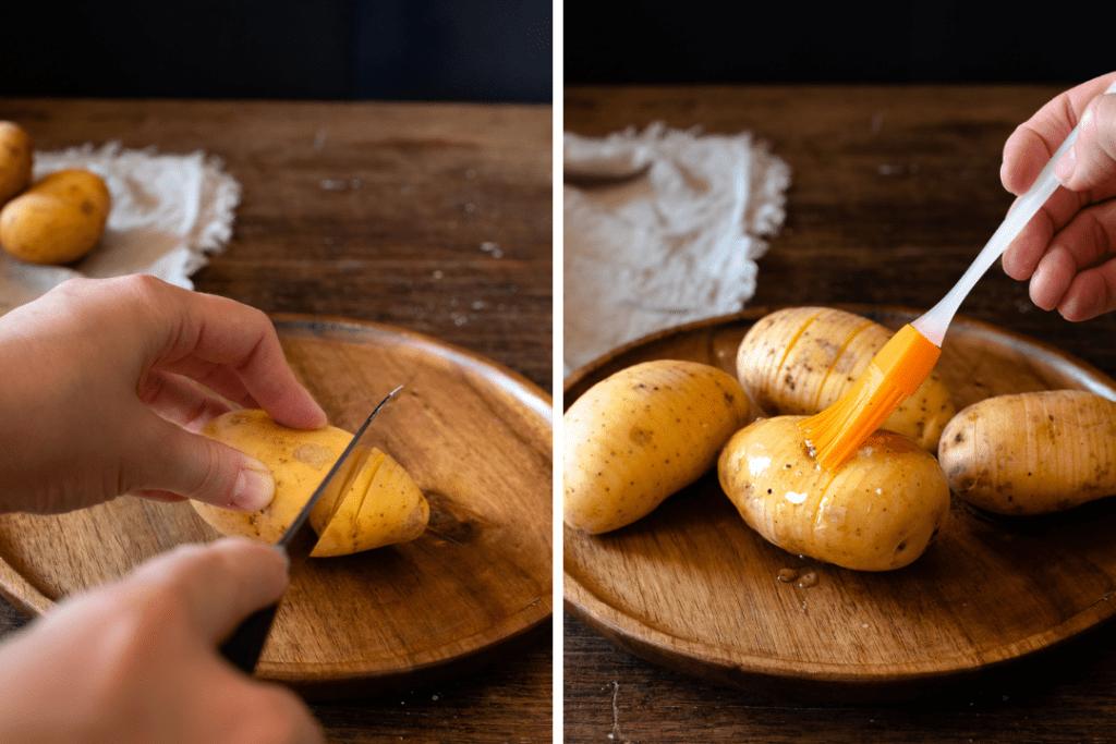 Für die Fächerkartoffeln werden die Kartoffeln zunächst eingeschnitten und dann mit würzigem Öl bepinselt.