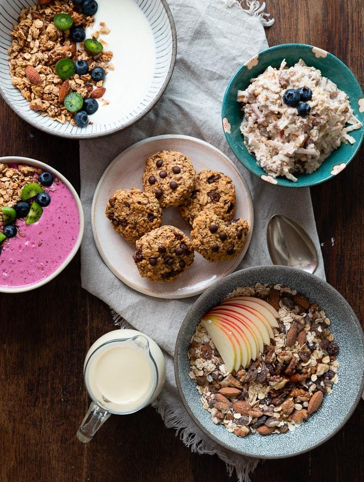 5 Frühstücksideen auf einem Tisch